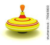 Yellow humming top with red and white circles - stock photo