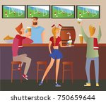 beer bar   restaurant. football ... | Shutterstock .eps vector #750659644