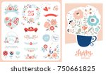happy birthday card. set with...   Shutterstock .eps vector #750661825