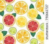 citrus seamless pattern. orange ... | Shutterstock .eps vector #750662737