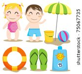 two children and a collection... | Shutterstock . vector #75067735