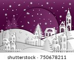 landscape the winter night city ... | Shutterstock .eps vector #750678211