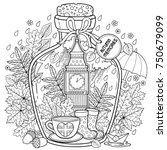 coloring book for adults. a... | Shutterstock .eps vector #750679099