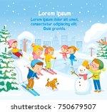 vector winter scene with kids... | Shutterstock .eps vector #750679507