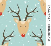 seamless pattern  deers and... | Shutterstock .eps vector #750679924