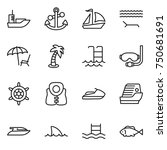 thin line icon set   sea...