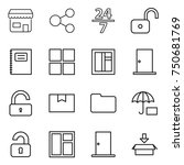 thin line icon set   shop ... | Shutterstock .eps vector #750681769