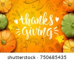 thanksgiving day. greeting card ... | Shutterstock .eps vector #750685435