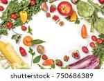 an overhead photo of fresh...   Shutterstock . vector #750686389