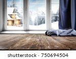 wooden table with free space... | Shutterstock . vector #750694504