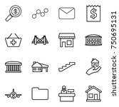 thin line icon set   dollar... | Shutterstock .eps vector #750695131