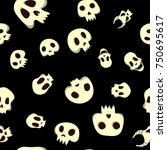 seamless halloween pattern with ... | Shutterstock . vector #750695617