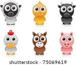 vector farm animals cartoon set ... | Shutterstock .eps vector #75069619