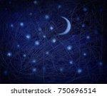 starry night sky as a... | Shutterstock . vector #750696514