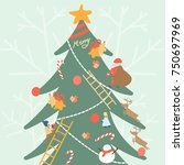 small kids and santa decorate... | Shutterstock .eps vector #750697969