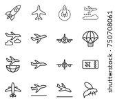 thin line icon set   rocket ... | Shutterstock .eps vector #750708061