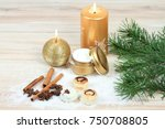 winter spa concept with candles....   Shutterstock . vector #750708805