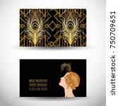art deco style business card.... | Shutterstock .eps vector #750709651