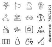 thin line icon set   24 7  flag ... | Shutterstock .eps vector #750711805