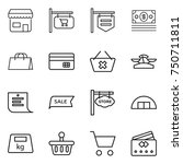 thin line icon set   shop ... | Shutterstock .eps vector #750711811