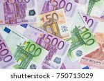 background with various euro... | Shutterstock . vector #750713029