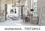 scandinavian style interior.... | Shutterstock . vector #750718411