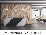 modern office interior with... | Shutterstock . vector #750718414