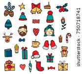hand drawn xmas stickers... | Shutterstock .eps vector #750718741