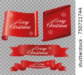 realistic red paper banners set.... | Shutterstock .eps vector #750721744