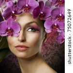 beautiful woman portrait with... | Shutterstock . vector #75072649