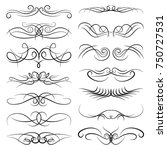 set of vintage decorative curls ... | Shutterstock .eps vector #750727531