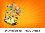 smartphone online shopping with ... | Shutterstock .eps vector #750729865