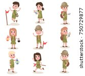 set of boys and girls scouts... | Shutterstock .eps vector #750729877