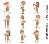 collection of children scouts... | Shutterstock .eps vector #750730039