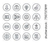 startup line icons set on white ... | Shutterstock .eps vector #750737899