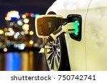 ev car or electric car at...   Shutterstock . vector #750742741