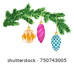 watercolor christmas and new... | Shutterstock . vector #750743005