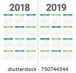 year 2018 2019 calendar vector... | Shutterstock .eps vector #750744544