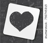 doodle poker heart | Shutterstock .eps vector #750745315