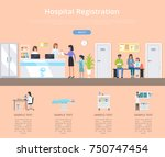 hospital registration desk with ... | Shutterstock .eps vector #750747454