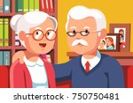 embracing grandfather and... | Shutterstock .eps vector #750750481