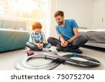 father and son compete in races ... | Shutterstock . vector #750752704