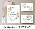 set of card with flower rose ... | Shutterstock .eps vector #750756631