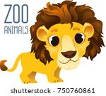 zoo animal  cartoon lion.... | Shutterstock .eps vector #750760861