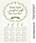 2018 calendar with bible quote...   Shutterstock .eps vector #750769207