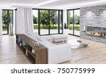modern bright interiors. 3d... | Shutterstock . vector #750775999