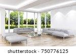 modern bright interiors. 3d...   Shutterstock . vector #750776125