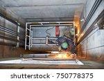 lift worker welding elevator... | Shutterstock . vector #750778375
