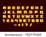 yellow fluorescent neon font on ... | Shutterstock .eps vector #750779185