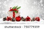 xmas decoration  christmas gift ...   Shutterstock . vector #750779359